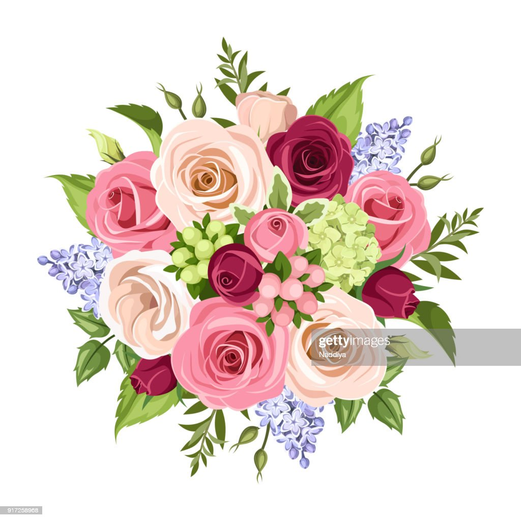 Bouquet of colorful flowers. Vector illustration.