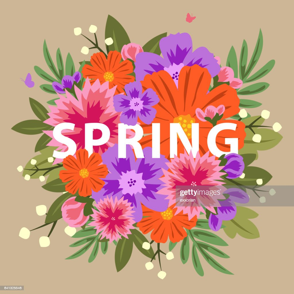 Bouquet Of Colorful Spring Flowers Vector Art Getty Images