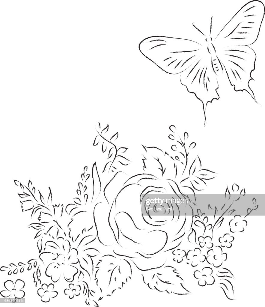 Bouquet Of Different Flowers Butterfly Sketch Outline Vector Art