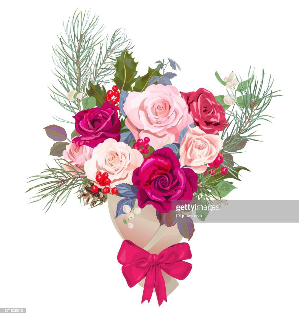 Blumenstrauß Designkonzept Für Weihnachten Valentinstagkarte Rot ...