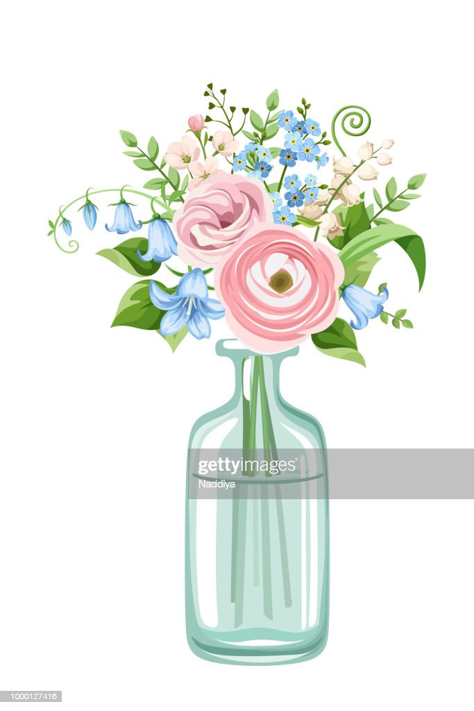 Bouquet of pink and blue flowers in a bottle. Vector illustration.