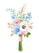 Bouquet of pink, blue and white flowers. Vector illustration.