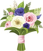 Bouquet of pink, white and blue flowers. Vector illustration.