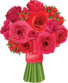 Bouquet of red flowers. Vector illustration.
