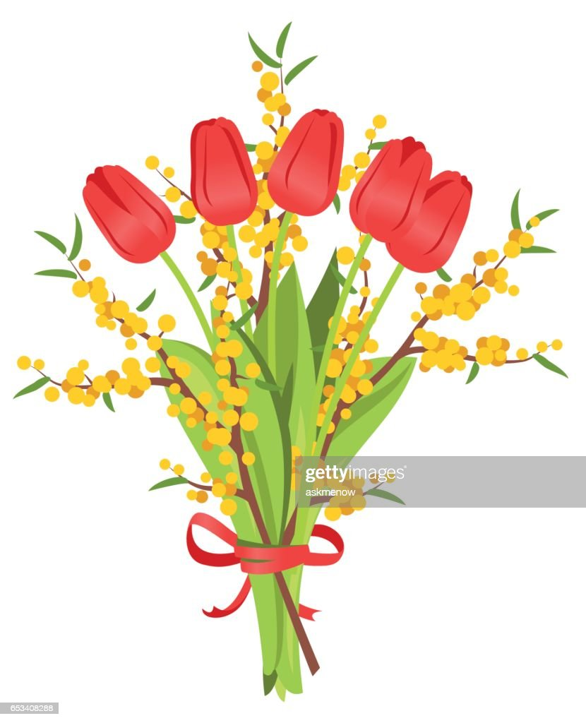 Bouquet of red tulips and mimosa