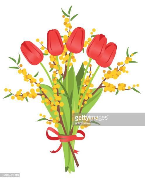 Bouquet von roten Tulpen und Mimosen