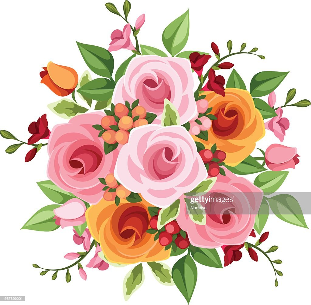 Bouquet of roses and freesia flowers vector illustration vector art bouquet of roses and freesia flowers vector illustration vector art izmirmasajfo