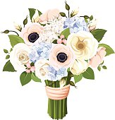 Bouquet of roses, lisianthus, anemones and hydrangea flowers. Vector illustration.