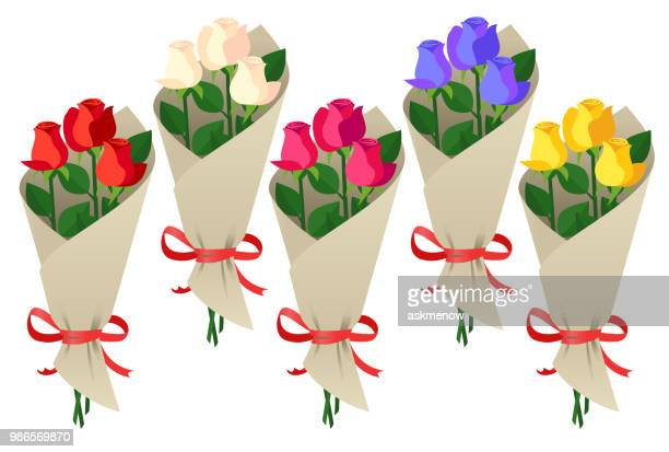 bouquet of roses - rosa stock illustrations