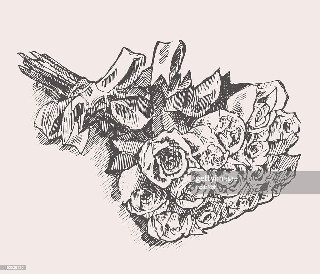 Strauß Rosen mit Band hand drawn sketch : Vektorgrafik