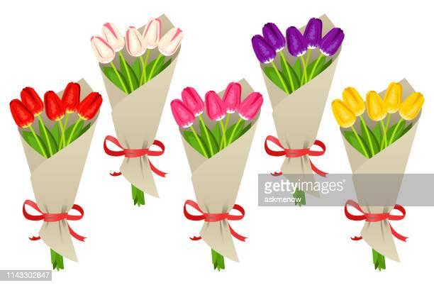 illustrations, cliparts, dessins animés et icônes de bouquet de tulipes - bouquet de fleurs
