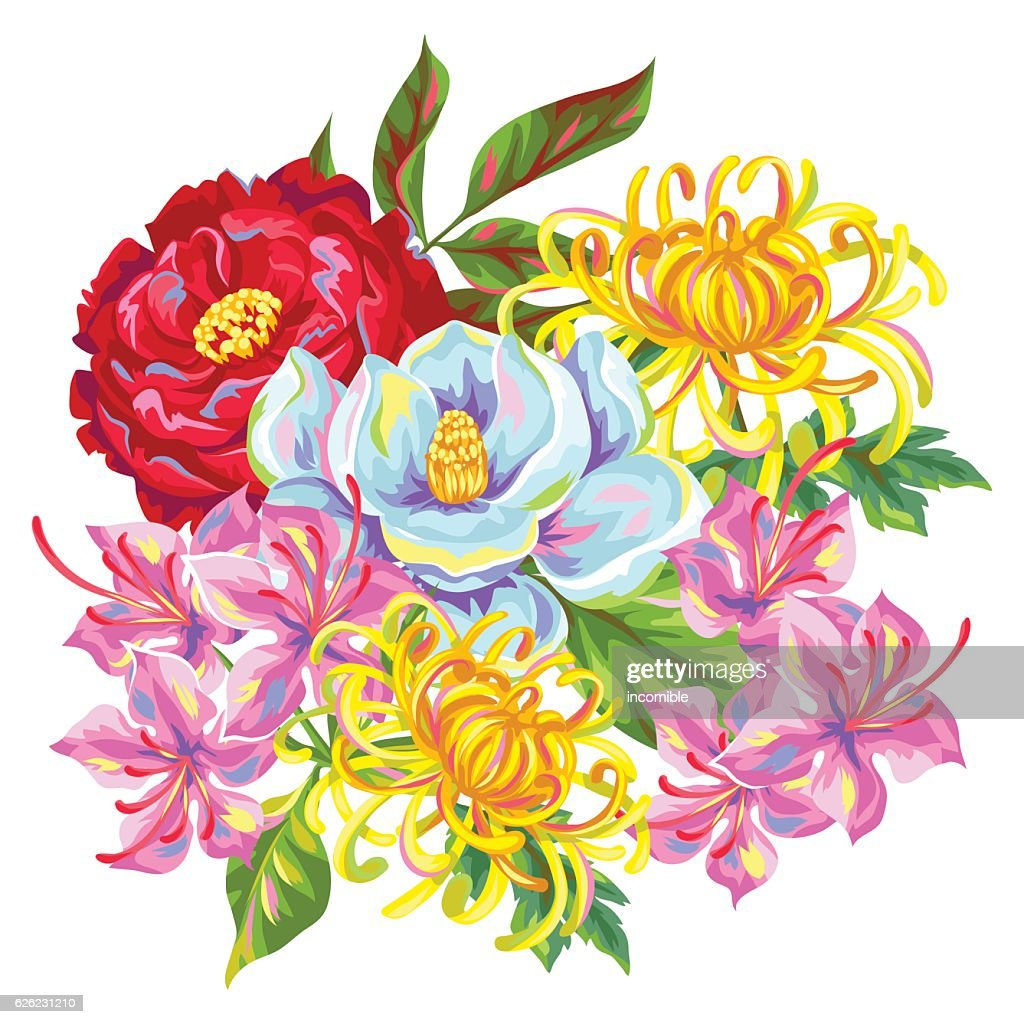 Bouquet with China flowers. Bright buds of magnolia, peony, rhododendron