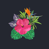 Bouquet with tropical plants. Set with isolated palm leaves, red