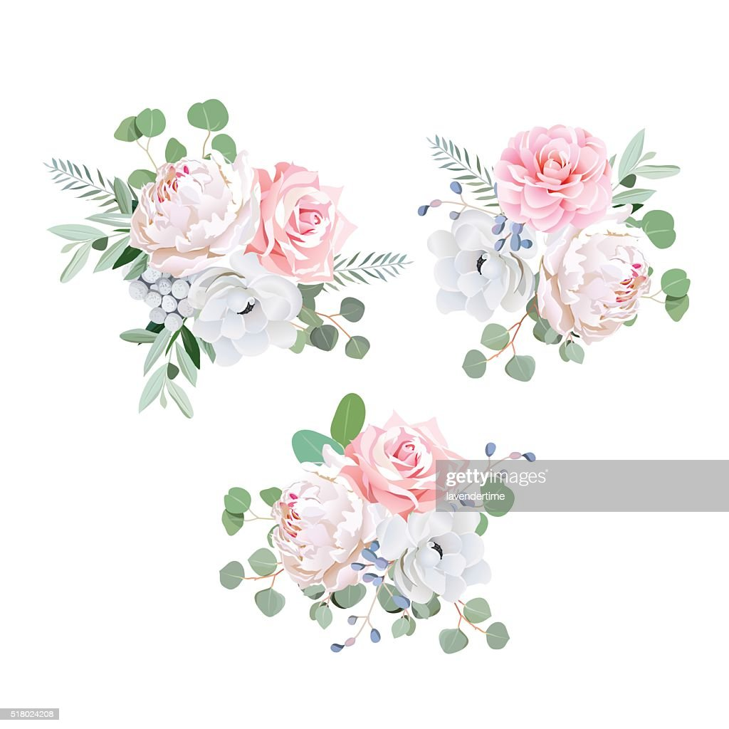Bouquets of rose, peony, anemone, camellia, brunia flowers and eucaliptis