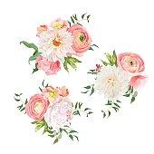 Bouquets of rose, peony, ranunculus, dahlia, carnation, green plants