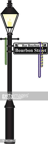 bourbon street lamp post - new orleans stock illustrations, clip art, cartoons, & icons