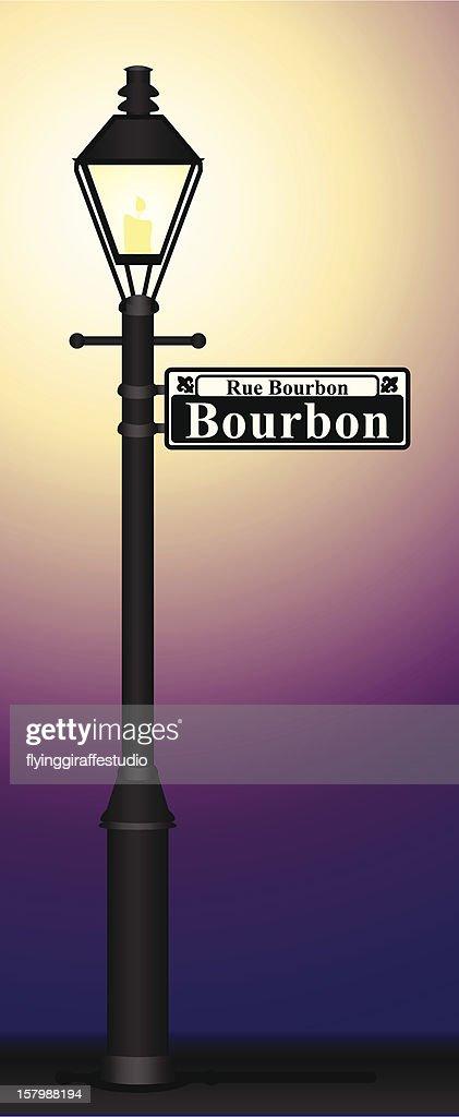 Bourbon Street Sign Glowing : stock illustration