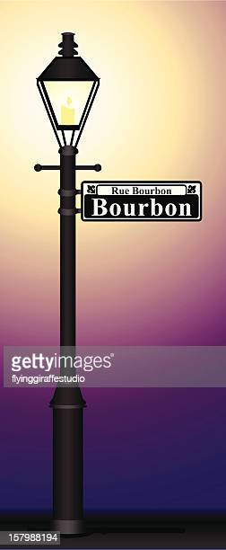 bourbon street sign glowing - new orleans stock illustrations, clip art, cartoons, & icons