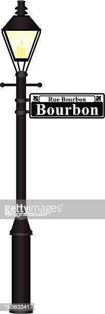 bourbon street sign - new orleans stock illustrations, clip art, cartoons, & icons