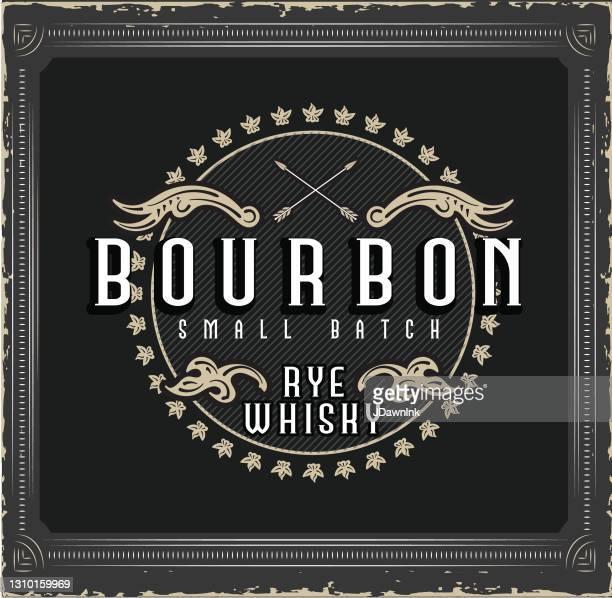 bourbon whiskey vintage bottle label design - bourbon whiskey stock illustrations