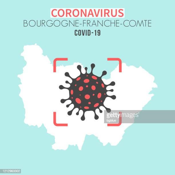 bildbanksillustrationer, clip art samt tecknat material och ikoner med bourgogne-franche-comte karta med en coronavirus cell (covid-19) i röd sökare - côte d'or