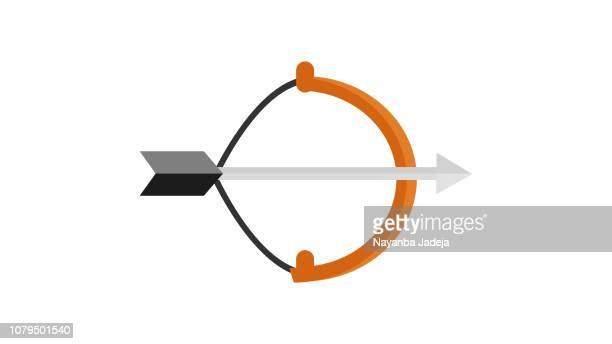 ilustraciones, imágenes clip art, dibujos animados e iconos de stock de arco y flechas aisladas sobre fondo blanco. herramientas de tiro con arco o cazador - arco y flecha
