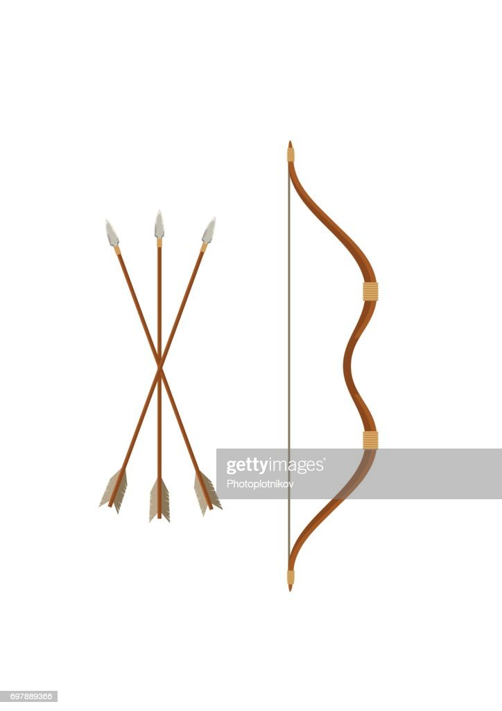 Bow and arrows isolated on white background. Archery or hunter tools