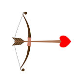 Bow Cupid. Arrow of Love with heart. Illustration for Valentines Day
