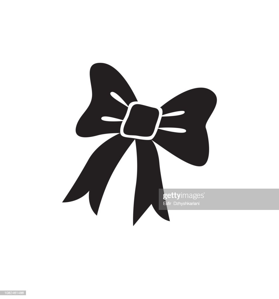 Bow icon christmas element flat vector  isolated on white background