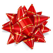 Bow of red ribbon with gold stripes