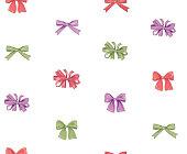 Bow seamless pattern. Girlish fashion white background. Holiday