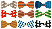 Bow Tie, a collection of realistic, colorful bow ties. Cartoon illustration of a bow tie.