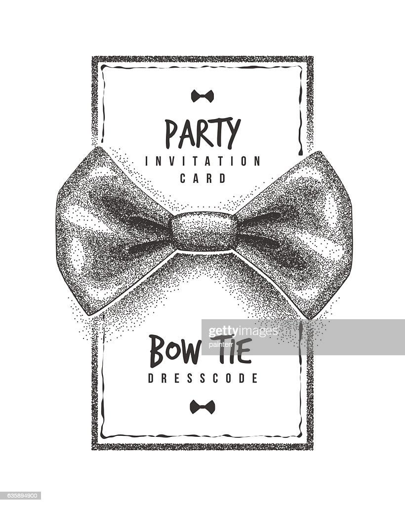 Bow Tie Party Invitation Card Of Dress Code Message Vector Art ...