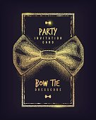 Bow tie party invitation card of dress code message