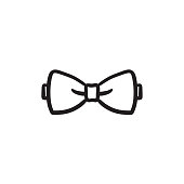Bow tie sketch icon