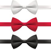 Bow tie. Tying, necktie, formalwear, vector illustration.