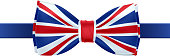 Bow tie with UK flag vector illustration.