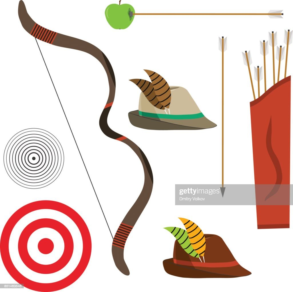 Bow with arrows, a hunter's hat, a target.