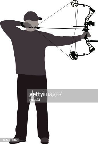 Bowhunter At Full Draw Vector Art Getty Images