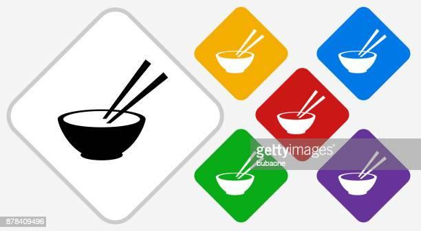 bowl and chopsticks color diamond vector icon - chopsticks stock illustrations, clip art, cartoons, & icons