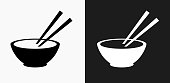 Bowl and Chopsticks Icon on Black and White Vector Backgrounds