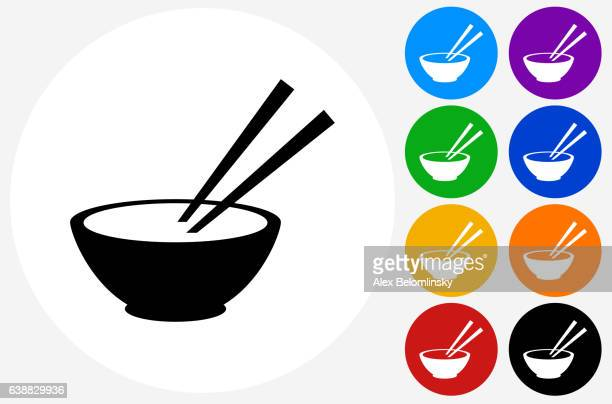 bowl and chopsticks icon on flat color circle buttons - chopsticks stock illustrations, clip art, cartoons, & icons