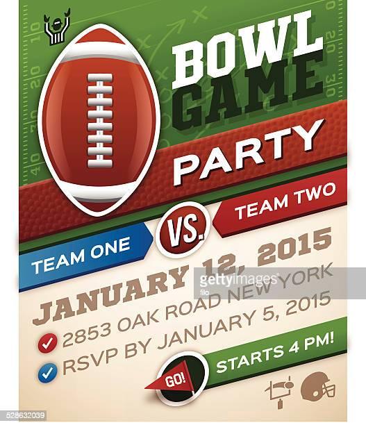 bowl game football invitation - football stock illustrations, clip art, cartoons, & icons