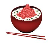 Bowl of Boiled Rice Topping with Chopped Maguro