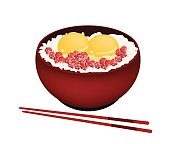 Bowl of Boiled Rice with Raw Egg and Maguro