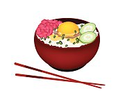 Bowl of Boiled Rice with Raw Egg and Tuna