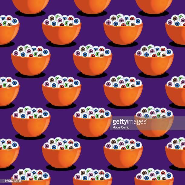 bowl of eyes seamless pattern - naughty america stock illustrations