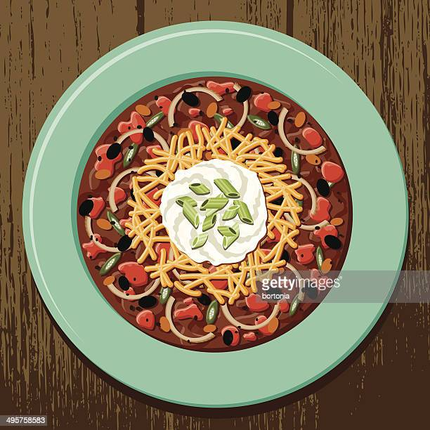 ilustrações de stock, clip art, desenhos animados e ícones de tigela de hot chilli con carne - pimenta
