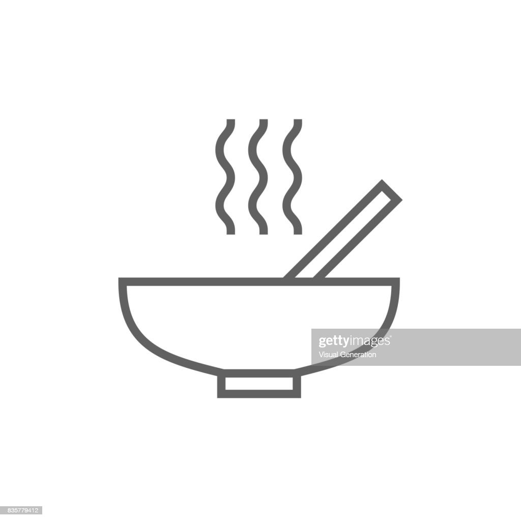 Bowl of hot soup with spoon line icon