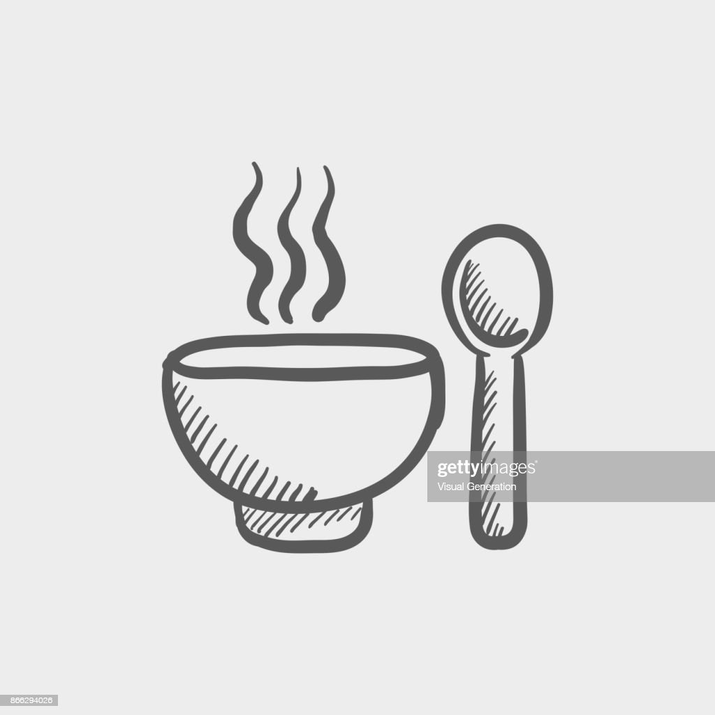 Bowl of hot soup with spoon sketch hand drawn doodle icon